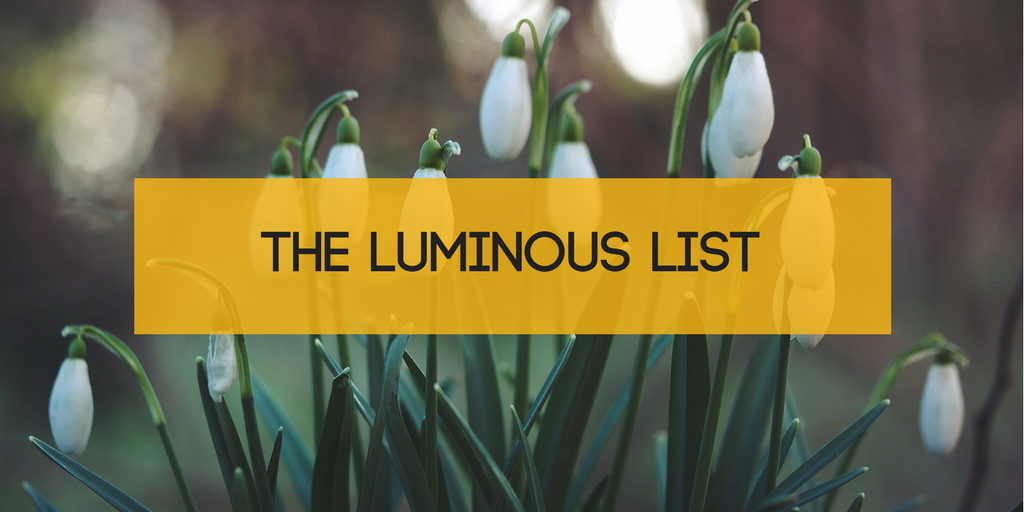 Snowdrop spring image with Luminous List title