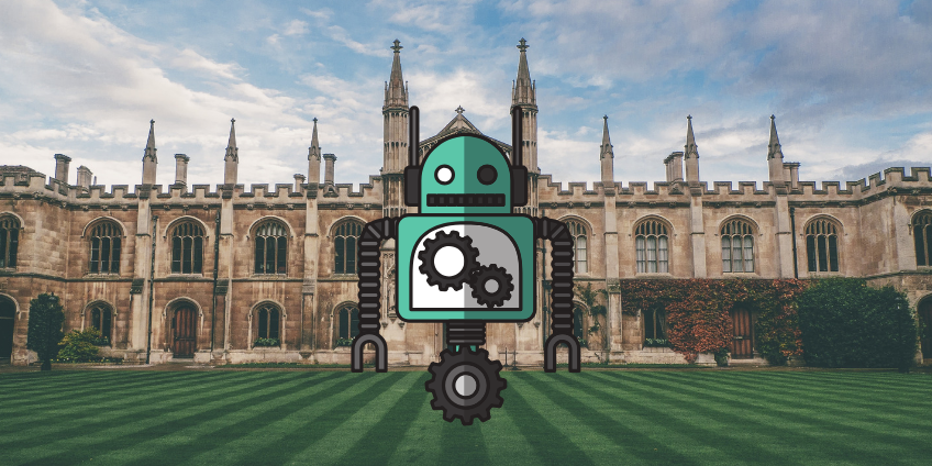 AI robot in front of Cambridge building