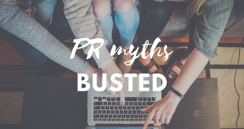 girls looking at laptop: tech PR myths busted concept