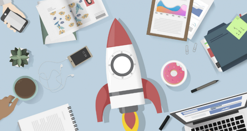 illustration of rocket, business startup concept